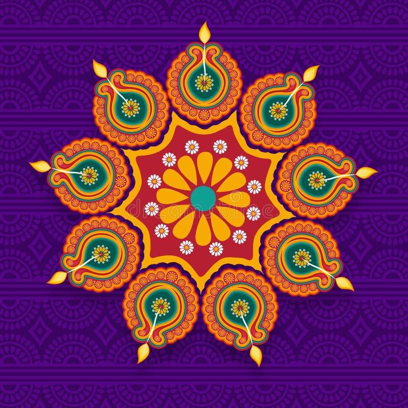 Rangoli con las lámparas del Lit para la celebración de Diwali stock de ilustración