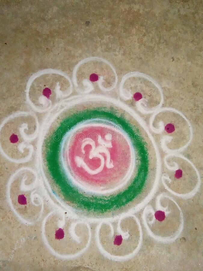 Rangoli design photo in India. Hand made Rangoli design using rangoli powder and Rangoli  colours in Maharashtra, India stock photo
