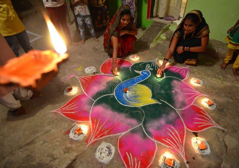 Rangoli- i colori di Diwali fotografia stock libera da diritti