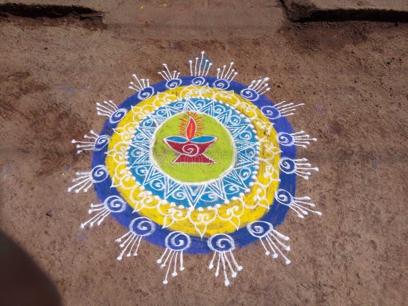 Rangoli kreatywnie, kolorowy, projekt Diwali zdjęcia stock