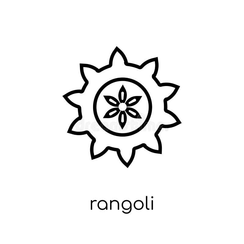 Rangoli symbol Moderiktig modern plan linjär vektorRangoli symbol på w stock illustrationer
