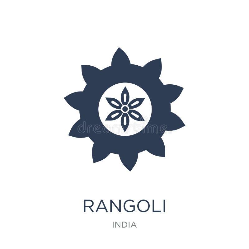 Rangoli symbol Moderiktig plan vektorRangoli symbol på vit backgroun stock illustrationer