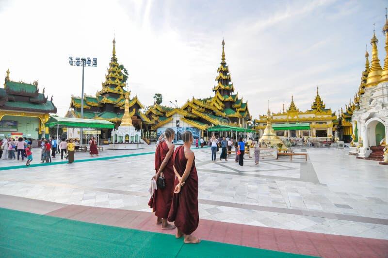 Rangoon, Myanmar - October 11, 2013: Unidentified young monks at Shwedagon Pagoda stock photo