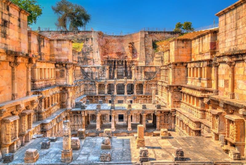 Ranien ki vav, ingewikkeld geconstrueerd stepwell in Patan - Gujarat, India stock foto