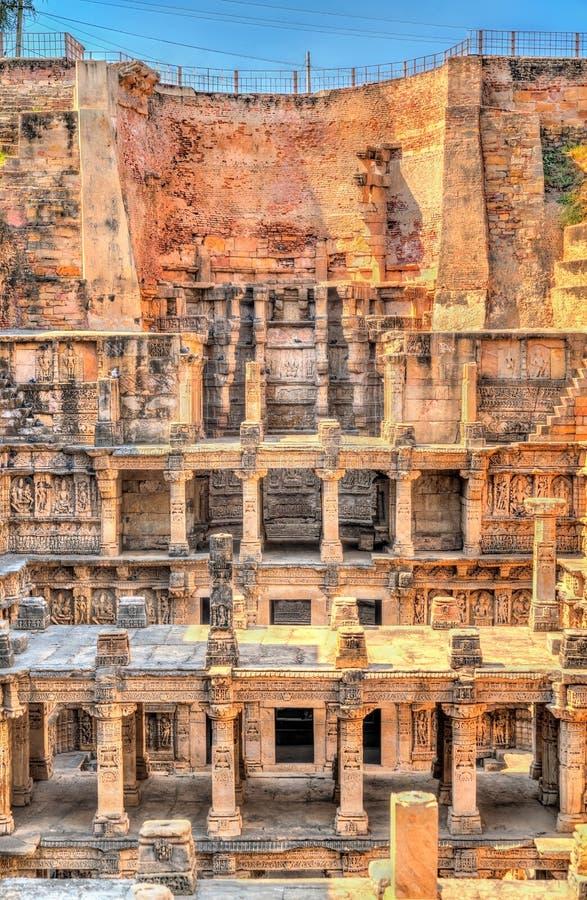 Ranien ki vav, ingewikkeld geconstrueerd stepwell in Patan - Gujarat, India royalty-vrije stock afbeelding