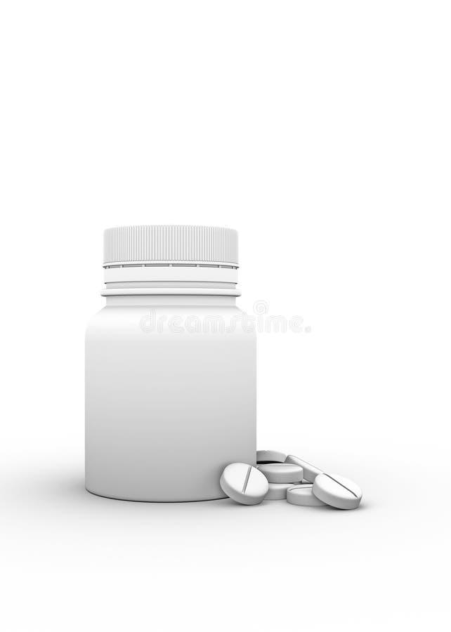 Ranja para tabuletas e comprimidos no fundo branco ilustração stock