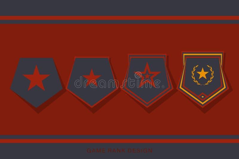 Rank Insignia Badge-set voor game-gebruikersinterface Onderteken voor toekenning van niveau- en Progress-prijs vector illustratie