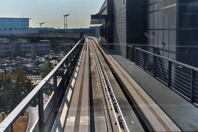 FRANKFURT, GERMANY - August 29, 2018: Skyline train for transport between the terminals at the Frankfurt International Airport. Frankfurt am main airport. View stock image