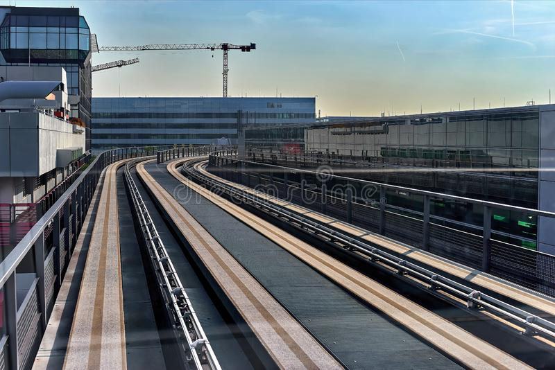 FRANKFURT, GERMANY - August 29, 2018: Skyline train for transport between the terminals at the Frankfurt International Airport. Frankfurt am main airport. View royalty free stock photography