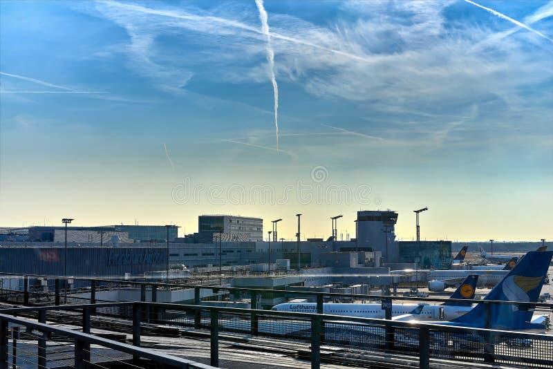 FRANKFURT, GERMANY - August 29, 2018: Skyline train for transport between the terminals at the Frankfurt International Airport. Frankfurt am main airport. View stock photos