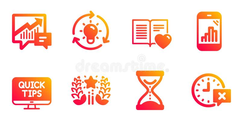 Ranking, Graph phone and Time hourglass icons set. Idea, Accounting and Love book signs. Vector. Ranking, Graph phone and Time hourglass line icons set. Idea royalty free illustration