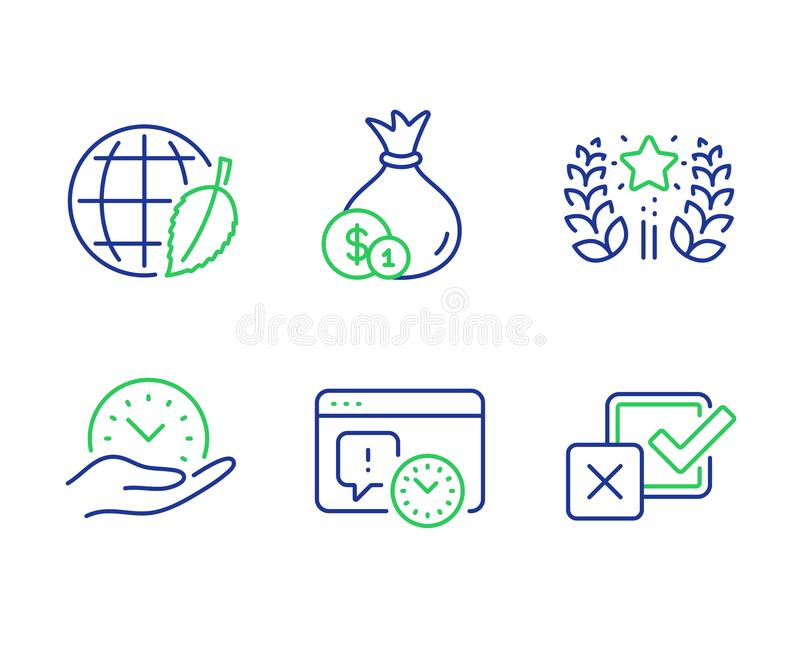 Ranking, Safe time and Project deadline icons set. Cash, Environment day and Checkbox signs. Vector. Ranking, Safe time and Project deadline line icons set. Cash royalty free illustration