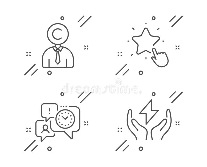Ranking star, Copyrighter and Time management icons set. Safe energy sign. Vector. Ranking star, Copyrighter and Time management line icons set. Safe energy sign vector illustration