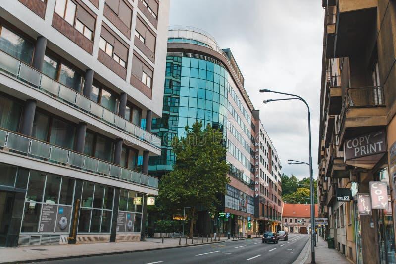 RANKU miasta ulic pusty europejski widok ZAGREB CHORWACJA, Lipiec - 15, 2018 - zdjęcie royalty free