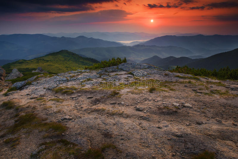 Ranku plateau halny krajobraz obrazy stock