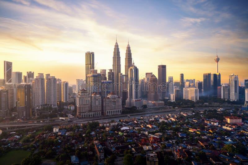 Ranku wschód słońca w Kuala Lumpur mieście zdjęcia stock