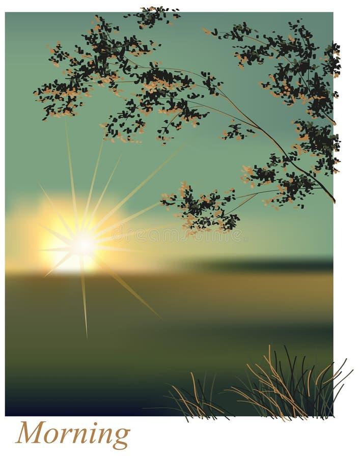 Ranku wschodu słońca lato ilustracji