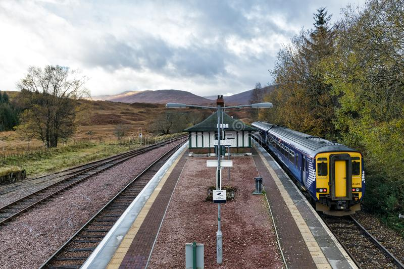 Train stop at Rannoch Station stock photo