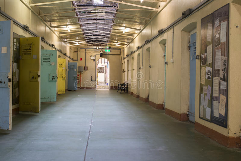Rannsakningshäkteceller, Adelaide Gaol, Adelaide, södra Australien arkivbild
