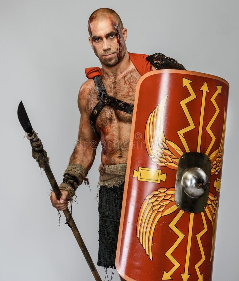 Ranny gladiator z dzidą obraz royalty free