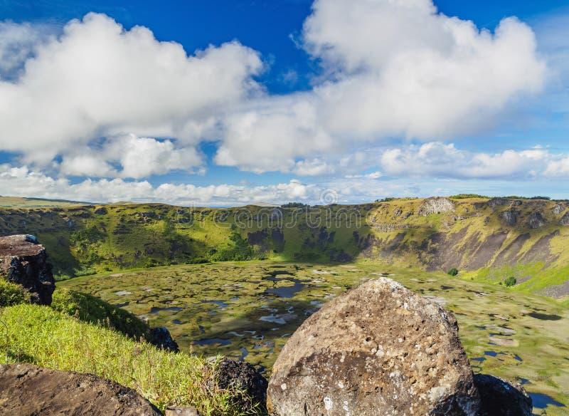 Rano在复活节岛,智利的Kau火山 库存图片