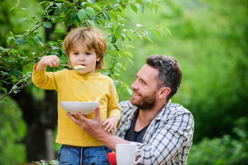 Rano śniadanie szczęśliwi ojcowie Mały chłopiec z tatą je płatki zdrowa żywność i dieta Mleczarstwo zdjęcia stock