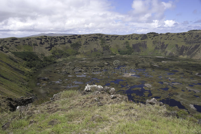 Rano Kau Crater. Lake from extinct volcano at Orongo, Easter Island royalty free stock photography