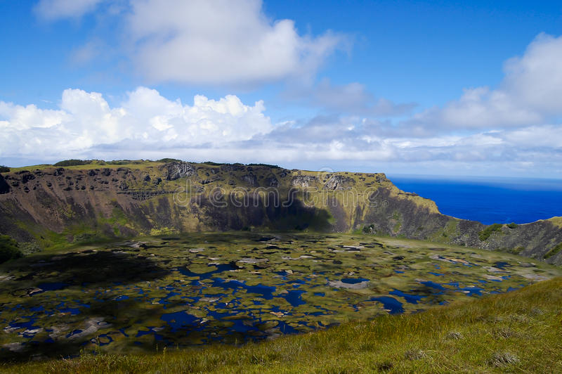 Rano Kau Crater - Easter Island. Rano Kau Crater in Easter Island stock photography