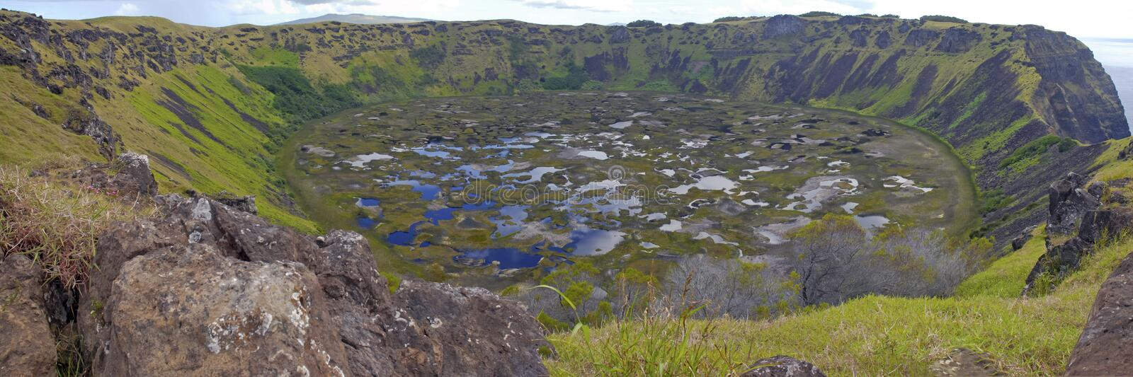 Rano Kau and its Crater on Rapa Nui. Rano Kau and its Crater filled with Fresh Water on Rapa Nui, Easter Island, Chile royalty free stock photo