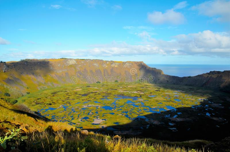 Rano Kau. Long shot of Rano Kau a large volcanic crater containing a freshwater lake in Easter Island, Rapa Nui, Chile, South America stock photography