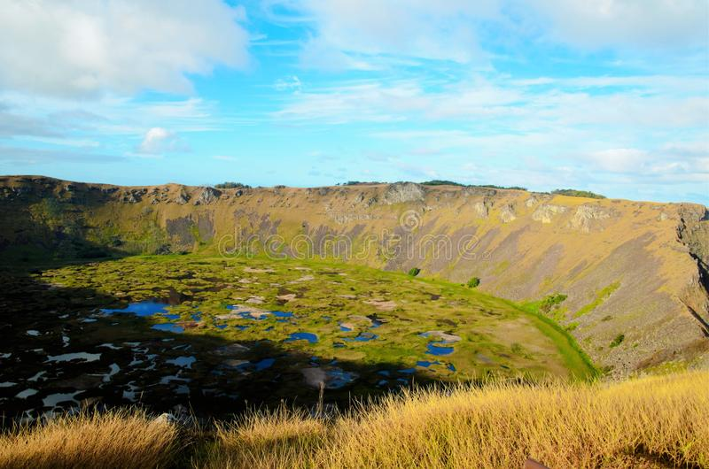 Rano Kau. Long shot of Rano Kau a large volcanic crater containing a freshwater lake in Easter Island, Rapa Nui, Chile, South America stock images
