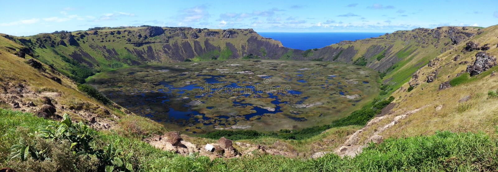Rano Kau. South America travel, Easter Island, Rapa Nui. Amazing colors in Rano Kau crater. spectacular nature stock images