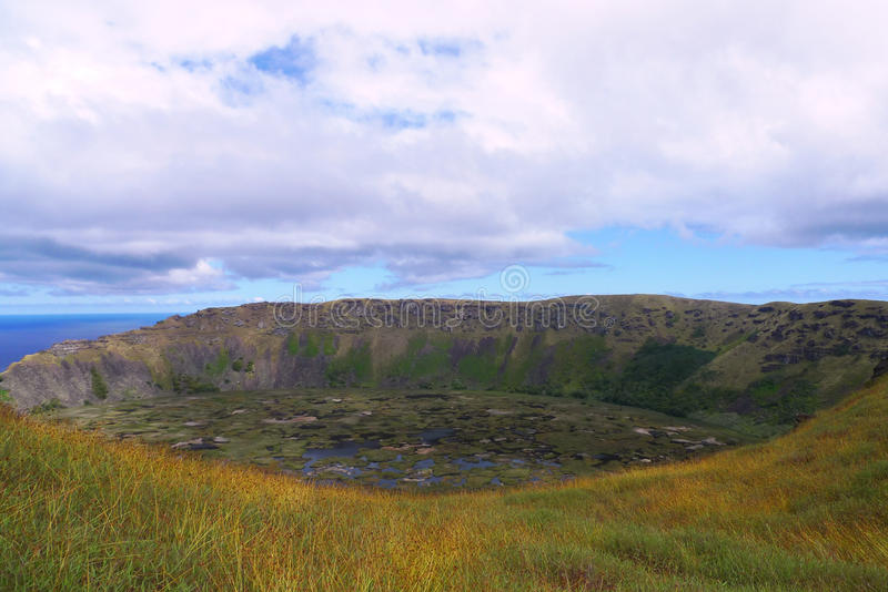 Rano Kau volcano crater, Easter island, Chile. Rano Kau volcano crater at Easter island, Chile royalty free stock photography