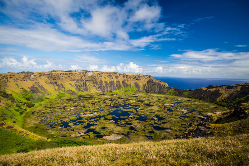 Rano Kau volcano. Easter island (Chile royalty free stock photography