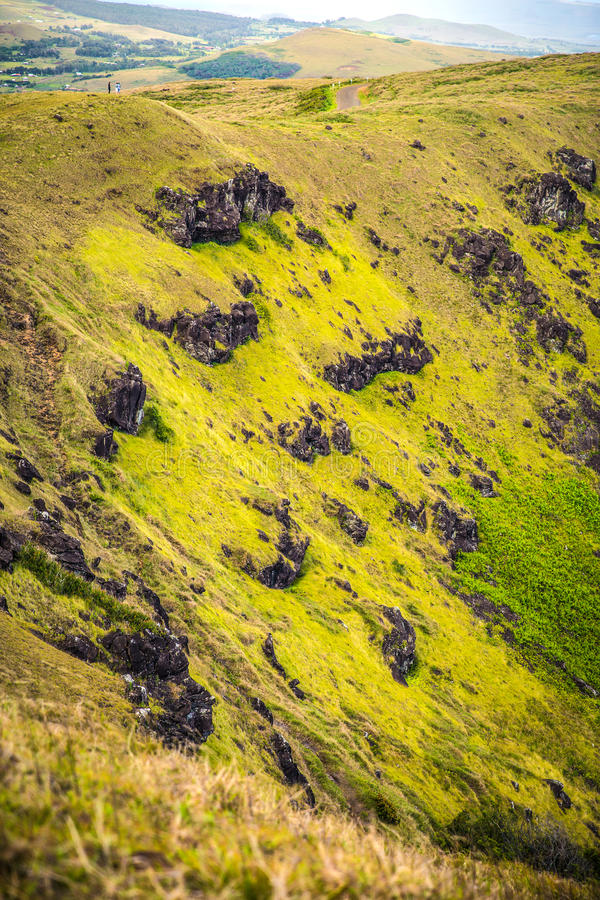 Rano Kau volcano. Easter island (Chile royalty free stock images