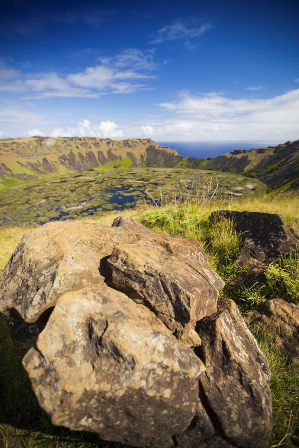 Rano Kau vulkan fotografering för bildbyråer