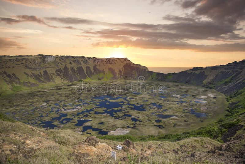 Rano Kau-Vulkan, Ostern-Insel stockfotografie