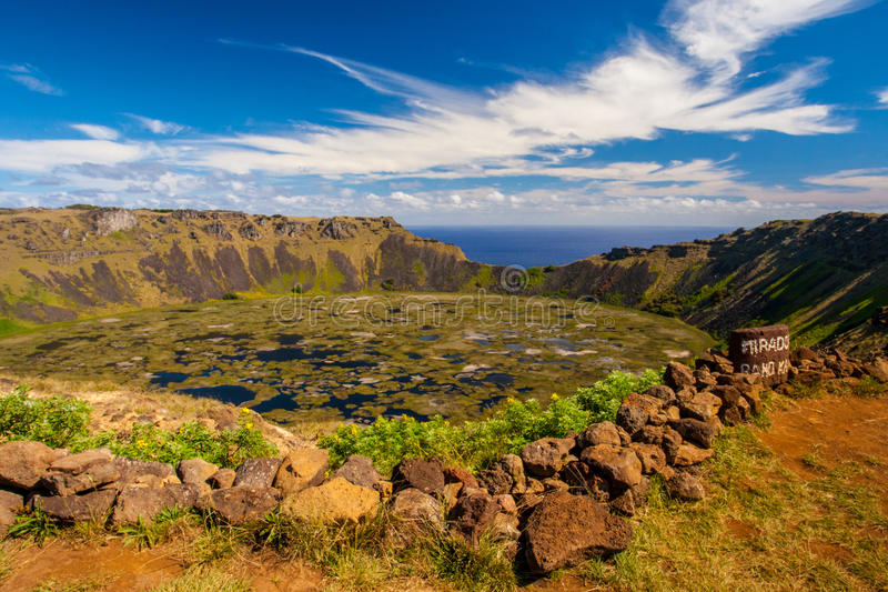 Rano Kau. Water Filled Volcanic Crater Rano Kau on Rapa Nui royalty free stock images