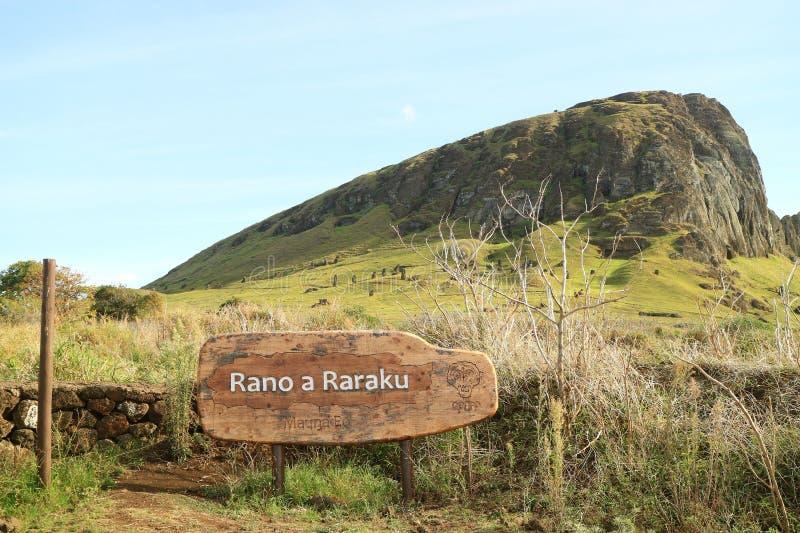 Rano Raraku火山,著名Moai雕象的猎物在复活节岛,智利,南美,联合国科教文组织世界遗产名录的 免版税库存照片