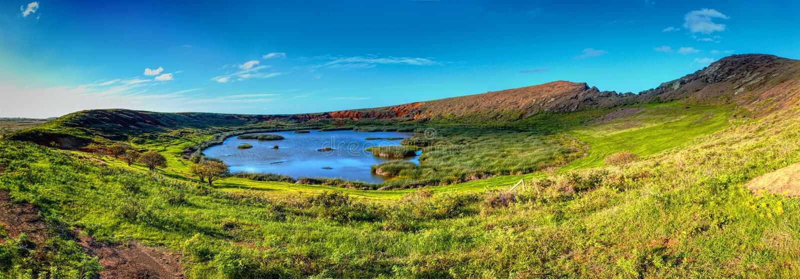 Rano Raraku Crater op Pasen-Eiland De Plaats van de werelderfenis van het Nationale Park van Rapa Nui