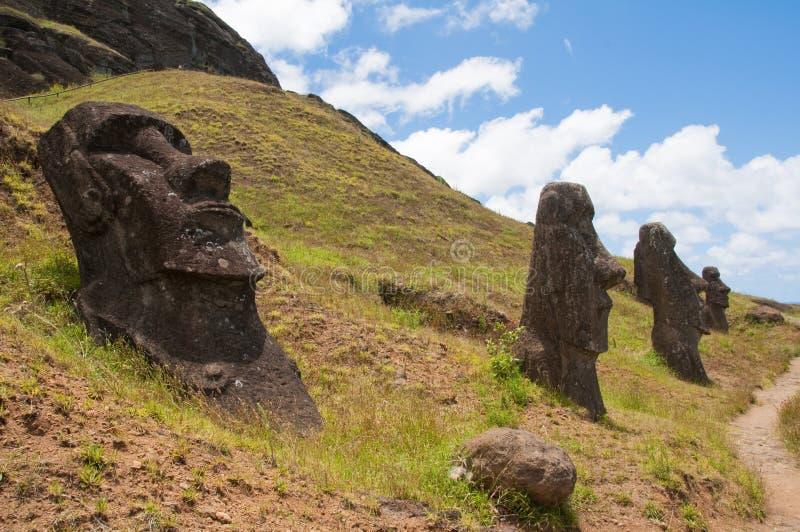 Rano Raraku, Easter island. Moais in Rano Raraku, Easter island royalty free stock images