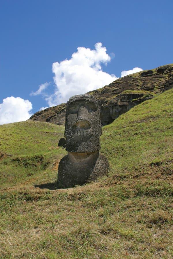 Rano raraku, Easter Island. Rano raraku - the workshop of the Moais on the Easter Island stock images