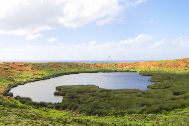Rano Raraku Lake. Easter Island royalty free stock photos