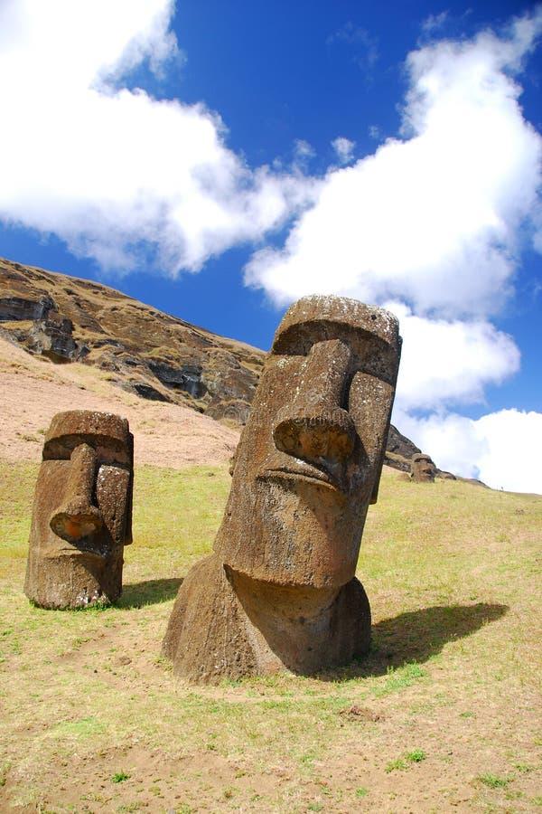 Rano Raraku moai. Easter Island moai at Rano Raraku quarry stock photography