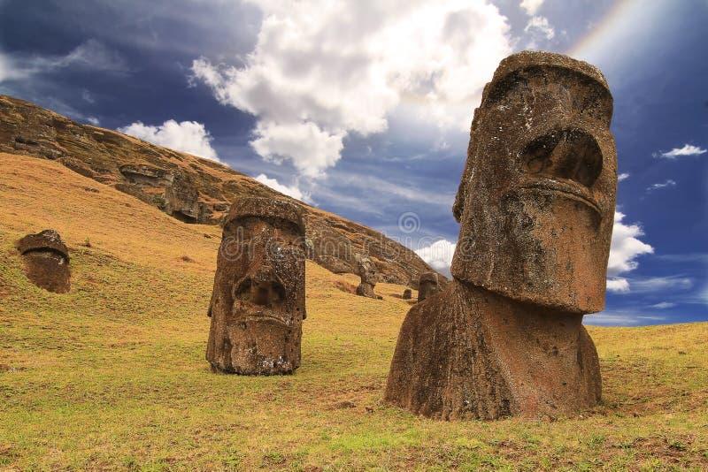 Rano raraku moai. (Easter island royalty free stock photography