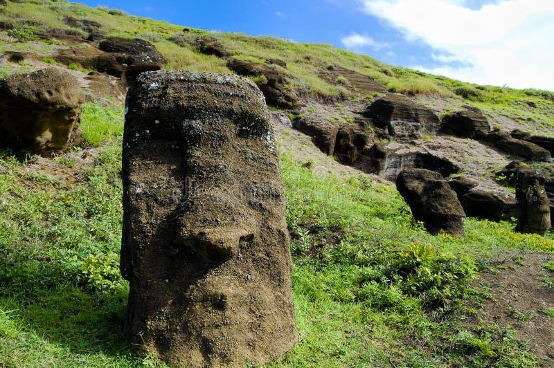 Rano Raraku Moais. Easter Island royalty free stock photography