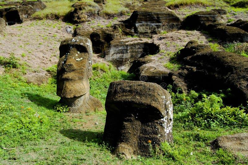 Rano Raraku Moais. Easter Island royalty free stock photo