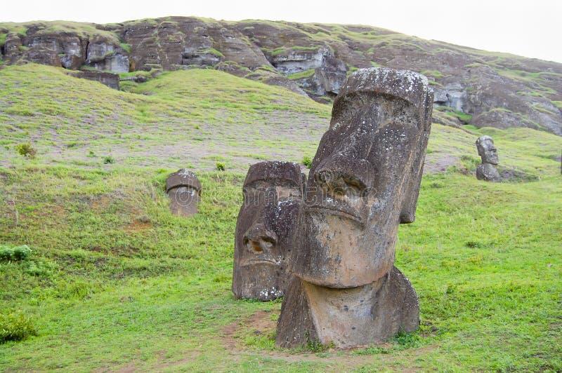 Rano Raraku Moais. Easter Island royalty free stock image
