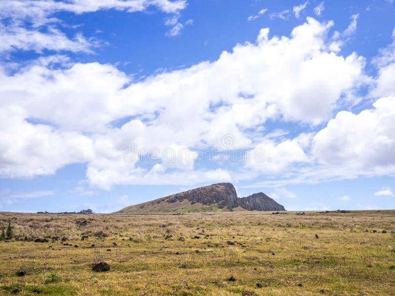 The Rano Raraku mountain. View of the mountain where the Rano Raraku quarry is located, Easter Island stock photo