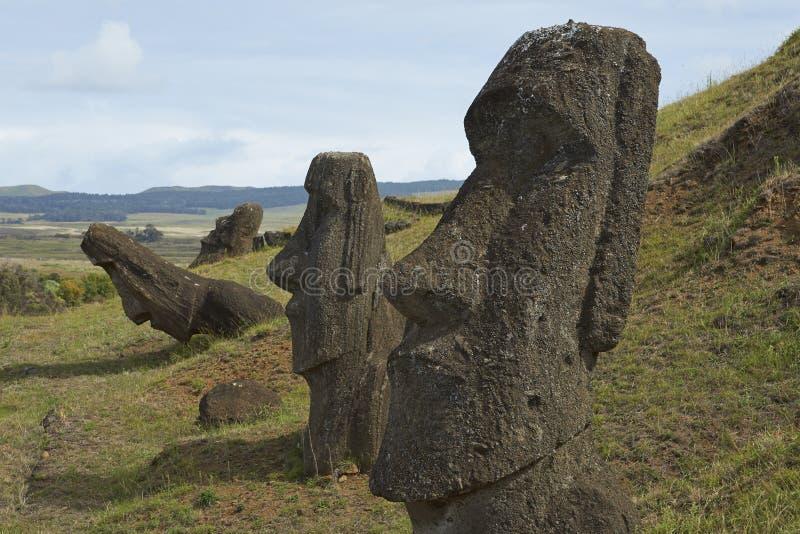 Rano Raraku påskö, Chile royaltyfria bilder